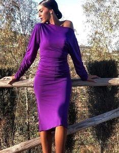 NWT Bloggers Fav.ZARA Purple W Neckline Midi Dress
